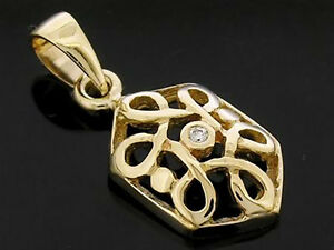 Lovely-9ct-Solid-Yellow-Gold-NATURAL-Diamond-Keltic-Celtic-Pendant