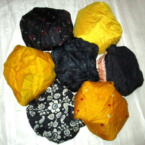 CA LOT PURE SILK Vintage Sari REMNANT Fabric 7 Pcs 1 ft Black Yellow Doll #ABCTW