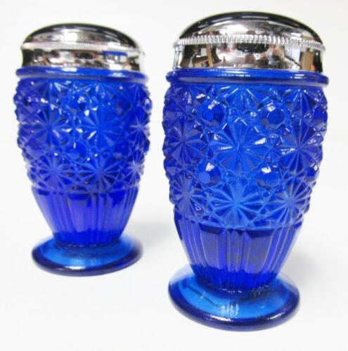 Fenton 1906KN Daisy and Button Salt & Pepper Shakers in Cobalt Blue Glass MINT