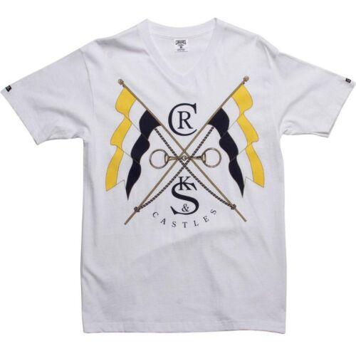 white $49.99 Crooks and Castles Flag Vneck Tee 920705WHT
