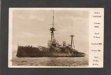 REAL-PHOTO POSTCARD:  HMS NEPTUNE - BRITISH  ROYAL NAVY WW-1 BATTLESHIP w/ FACTS