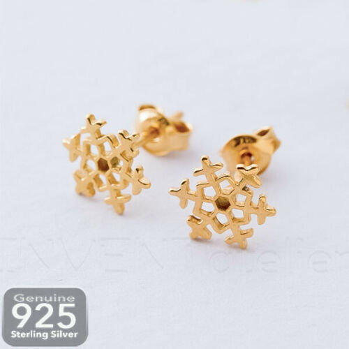 925 Sterling Silver SNOWFLAKES EAR STUDS EARRINGS Gold Plated 14K 1 PAIR