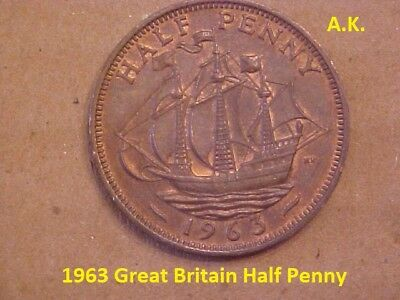 1963 Great Britain Half Penny 50 Coin Lot Uncirculated KM# 896