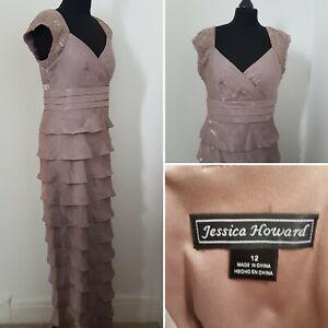Ladies-JESSICA-HOWARD-Column-Dress-Sz-12-Ruffle-Layered-Evening-Deco-Flapper