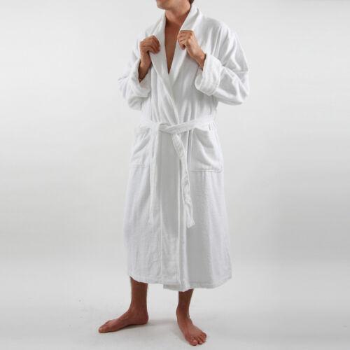 "Mens Pink Luxury Terry Velour Bathrobe 48/"" Length 100/% Cotton"