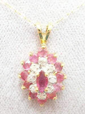 14K Gold Pendant with Genuine Natural Rubies and Diamonds (#2630)