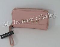 Guess Gretchen Slg Small Zip Around Wallet Checkbook Clutch Blush