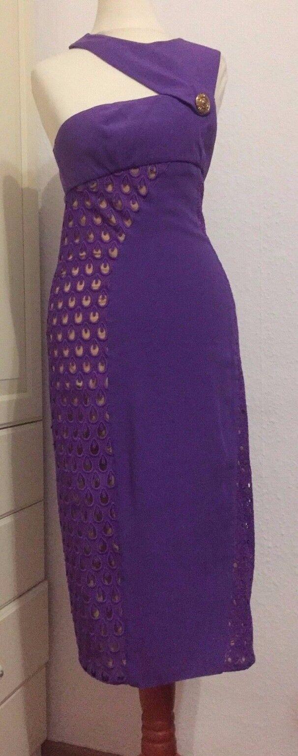 VERSACE for h&m Abito Midi VIOLA SETA DRESS violac silk EUR 34 Dimensione US 4