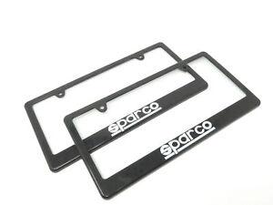 SPARCO RACING BLACK COLOR PLASTIC LICENSE PLATE FRAME 2PCS