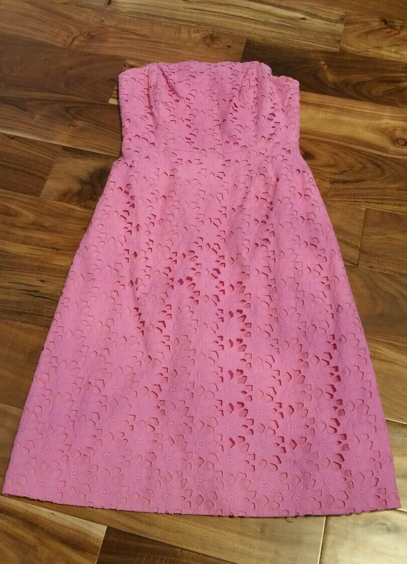Lilly Lilly Lilly Pulitzer pink strapless lace eyelet dress. Size 8 4c9ecf