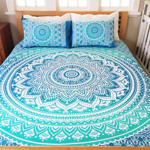 Indian Mandala Bedding Set Throw Hippie Bohemian Bed Sheet Queen