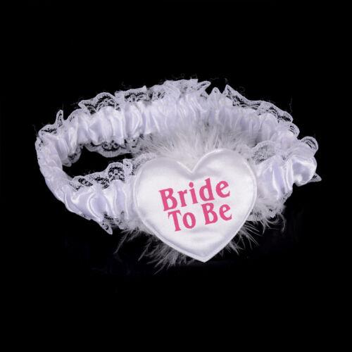 4Pcs Bride to Be White Garter Sash  Badge Rosette Bachelorette Party Set ZT