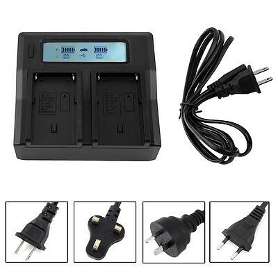 LCD Display Dual Battery Fast Charger BT For Sony NP-F970 NP-F770 F750 F550 F570