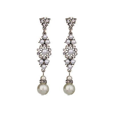 Elegant Vintage Silver Pearls Flower Long Lady's Earrings