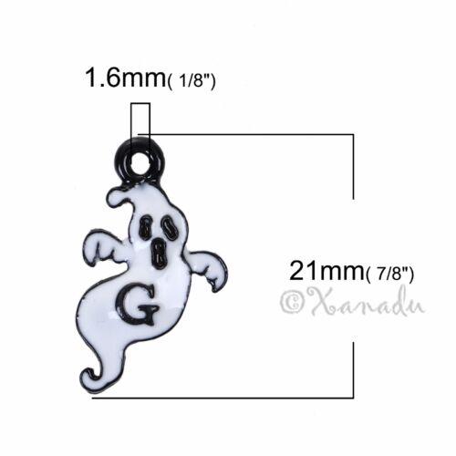 20PCs Ghost 21mm White Enamel Halloween Charms C4271-5 10