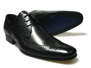 RED-TAPE-Louth-Negro-Hombre-Cuero-Zapatos-Oxford-GB-6-12