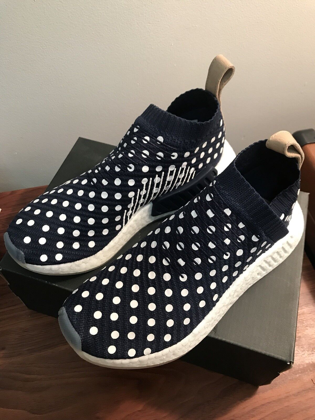 New Adidas NMD CS2 Polka Dot City Sock Navy Boost Ronin Pack Size 6.5 Deadstock