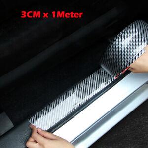 Coche-De-Fibra-De-Carbono-Protector-de-Borde-de-Goma-Tira-Puerta-Umbral-Protector-partes-3CMx1M