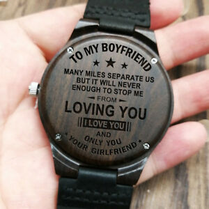 Image Is Loading To My Boyfriend Your Girlfriend Engraved Wooden Watch