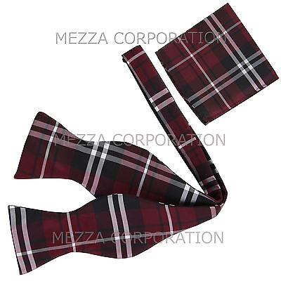 New men/'s self tie free style bowtie set plaid /& checkers formal wedding purple