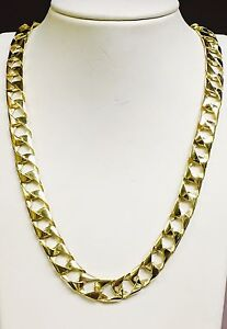 10kt-solid-gold-handmade-Curb-Link-mens-Chain-Necklace-30-034-90-Grams-11MM