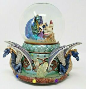Vintage-Merlin-Wizard-Dragon-Musical-Snow-Globe
