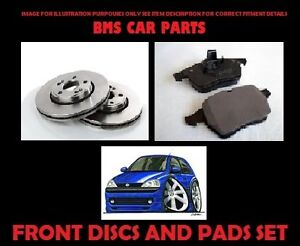 VAUXHALL CORSA C  00-06 TWO FRONT 240 MM VENTED BRAKE DISCS A SET OF PADS