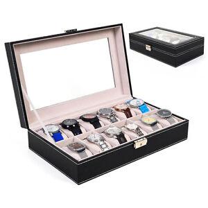 12-Slot-Leather-Wrist-Watch-Box-Display-Case-Holder-Glass-Top-Jewelry-Storage
