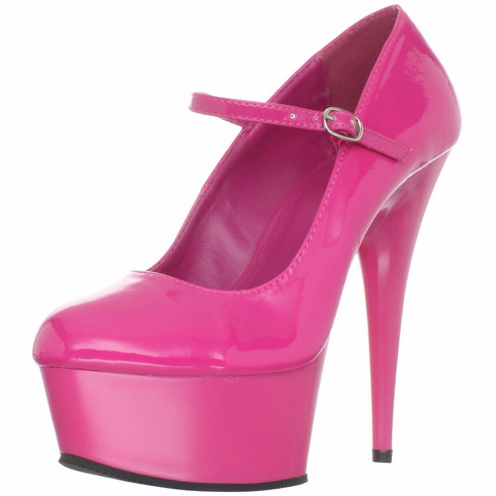 PLEASER Patent High Heel Stiletto Stiletto Stiletto Mary Jane Platform Pump DELIGHT-687 Hot Rosa 5aed1a