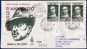1963-FDC-Venetia-D-039-ANNUNZIO-Viaggiata-per-raccomandata-n-197It