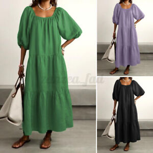 Royaume-Uni Femme Puff manches Backless Layered Casual Loose cocktail caftan robe