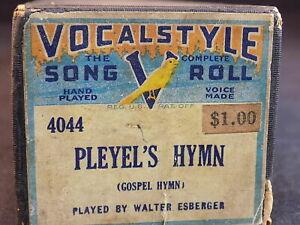 Player Piano Roll Style Vocal 4044 Pleyel 'hymne V Chanson Roll-afficher Le Titre D'origine Gagner Les éLoges Des Clients