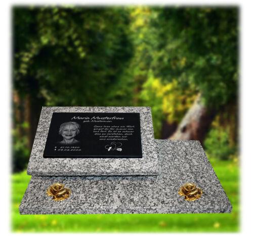 Grabstein Grabplatte Grabmal Grabtafel Granit 60x40 cm Foto+Text Gravur  gg43s