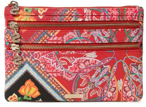 Desigual Folklore cards Multizip Long Wallet Cosmétiques Sac Rojo Contra Rouge Rose