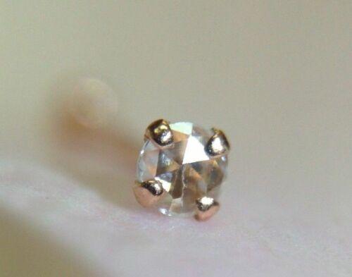New .02CT 2mm E VS Rose Cut Diamond 14K Rose Gold Nose Stud Ring