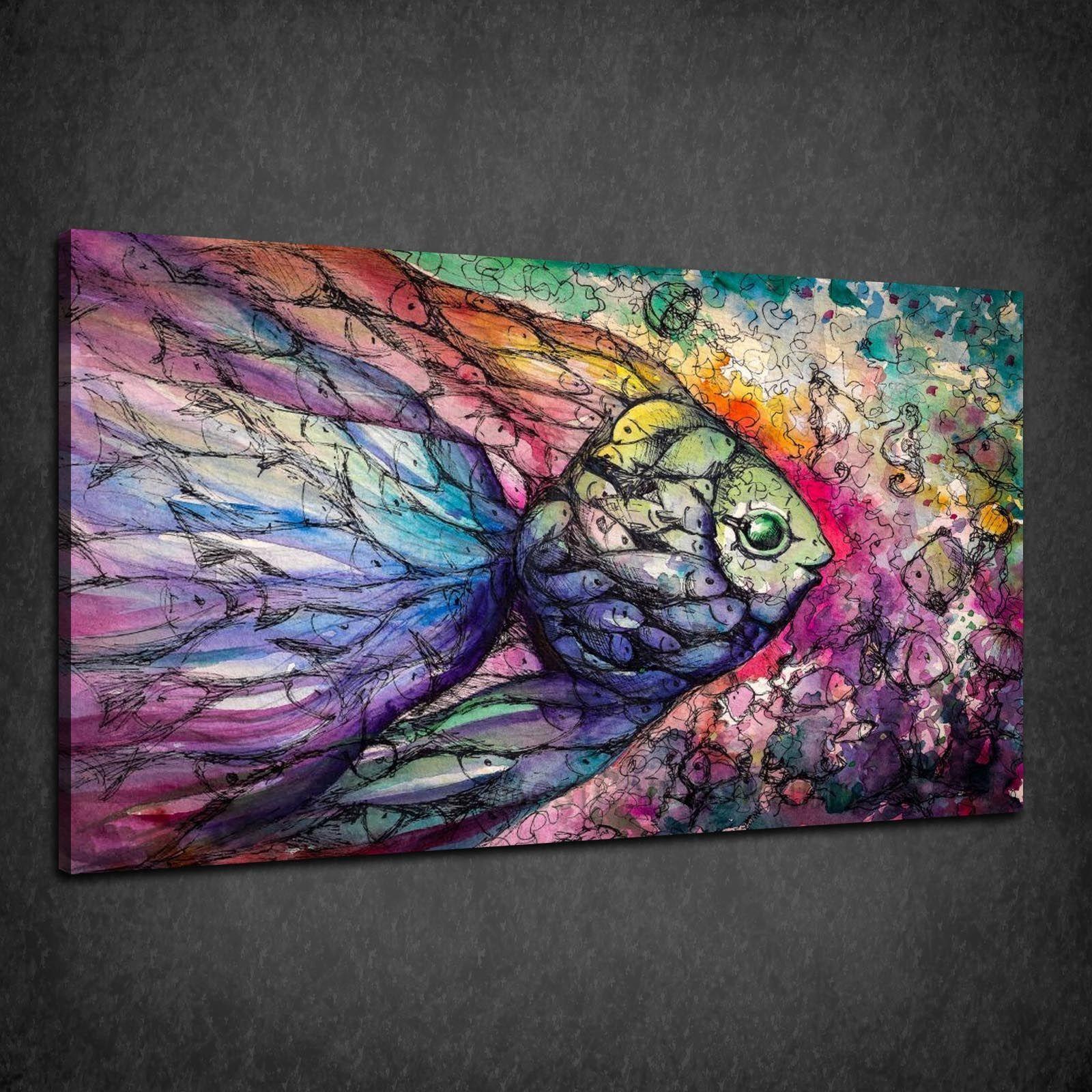 BELLISSIMO Pesce Astratto Coloreeato Collage Scatola Tela Stampa Wall Art Picture