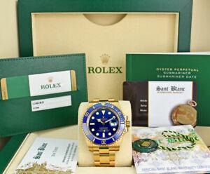ROLEX-Mens-18kt-Gold-Submariner-Blue-CERAMIC-Box-amp-Card-116618LB-SANT-BLANC