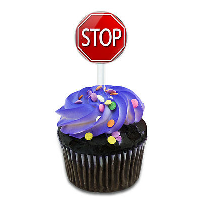 Stop Sign Stylized Red Grey Cake Cupcake Toppers Picks Set