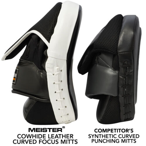 LEATHER FOCUS MITTS w// WRIST SUPPORT CURVED Meister MMA Boxing Pads NEW PAIR