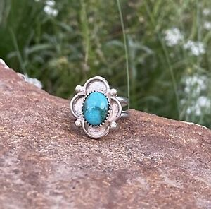 size 4 Turquoise red and blue vintage sterling silver 925 ring