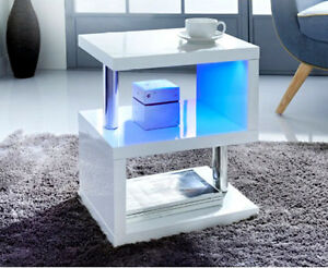 Charmant Alaska Modern Design White High Gloss Coffee/Side Table With Blue LED  Lights | EBay