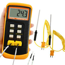 Temperature K Type Thermocouple Thermometer 4 Probes Wired Amp Stainless Steel