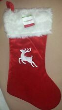 MONOGRAMMED PLUSH CHRISTMAS STOCKING w/ Bells, REINDEER  Xmas Decoration NEW!