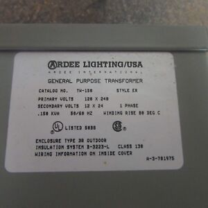 Details About New Ardee Lighting General Purpose Transformer Tw 150 C1