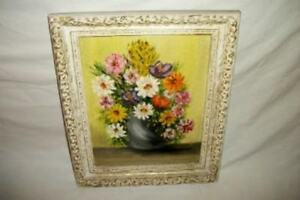 Vintage-Floral-Oil-Painting-Ornate-Frame-50-039-s-Mid-Century-Chic-Shabby-Paris-Apt
