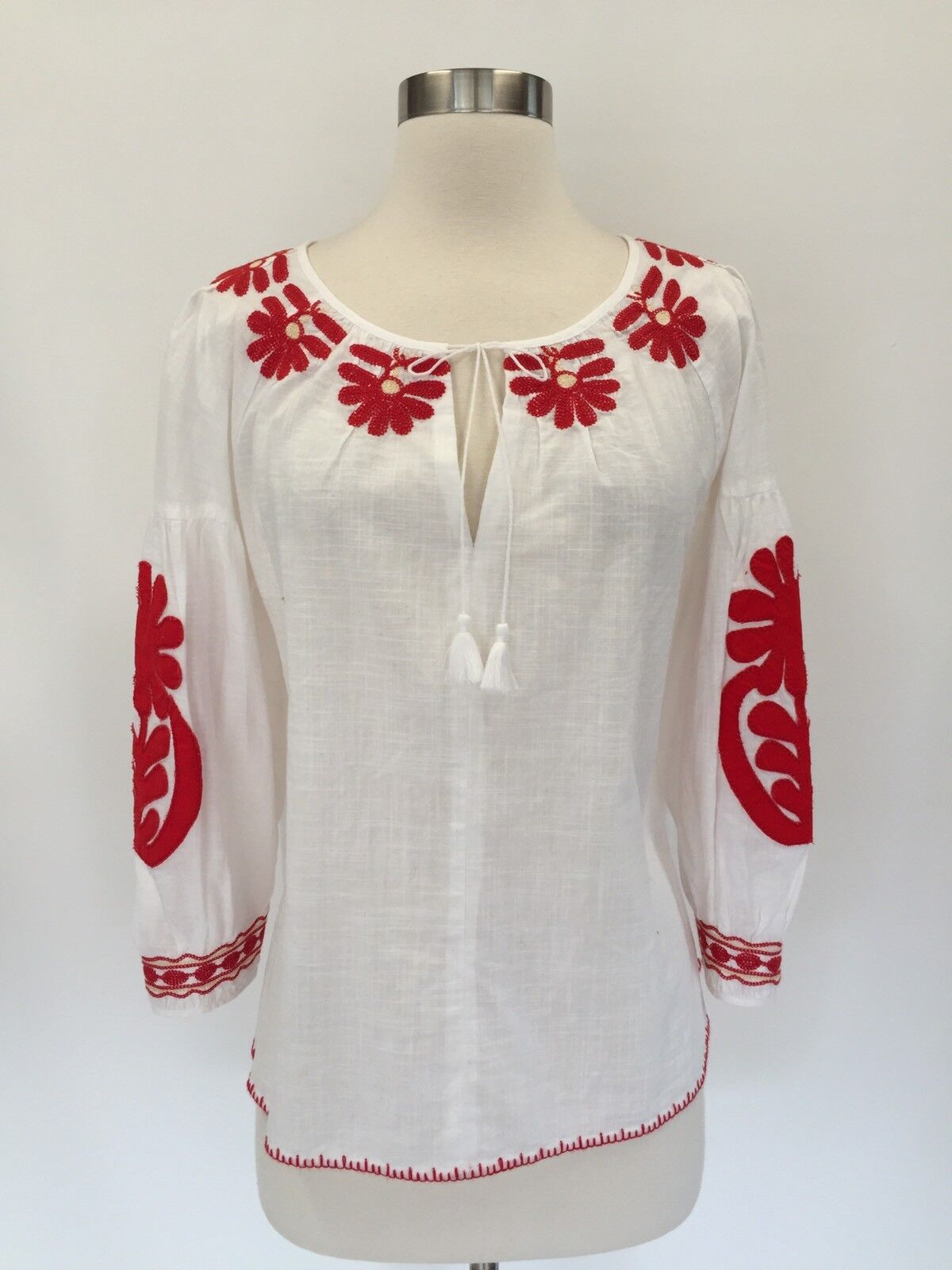 New Madewell Embroiderot Weißa Top Blouse Weiß Sz M Medium