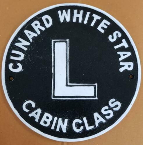 Vintage Style Cast Iron Wall Sign 25cm x 25cm CUNARD WHITE STAR CABIN CLASS