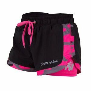 Gorilla-Wear-Women-039-s-denver-shorts-Black-rosa-negro-rosa-musculacion-Fitness