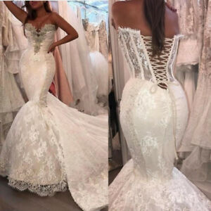 Details about Wedding Dresses Sweetheart Lace Appliques Crystal Beaded Mermaid Bridal Gowns