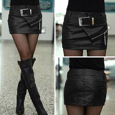 HOT Fashion Women Wet Look Black Faux Leather Mini Short Skirt Short & Belt 6-18